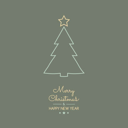 Christmas decoration with wishes and hand drawn tree. Vector.
