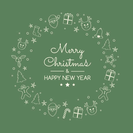 Concept of Christmas greeting card with hand drawn decorations. Vector.