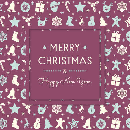 Christmas greetings with hand drawn decorations. Vector.