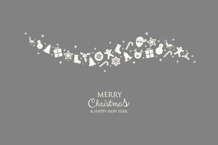 Christmas decoration. Xmas greeting card with icons. Vector