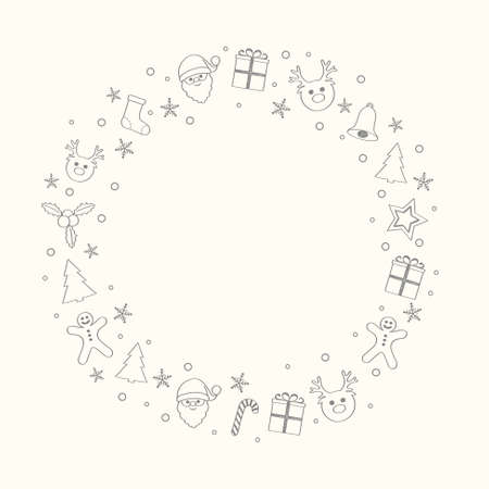 Design of Christmas card layout with wishes and ornaments. Vector.