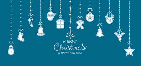 Merry Christmas and Happy New Year - greeting card with hanging ornaments. Vector.