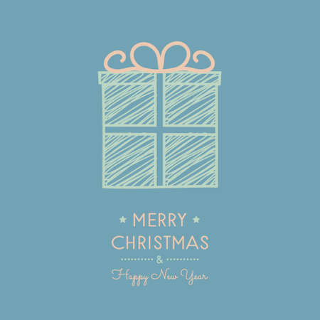 Vintage Christmas card with hand drawn gift. Vector. Vettoriali