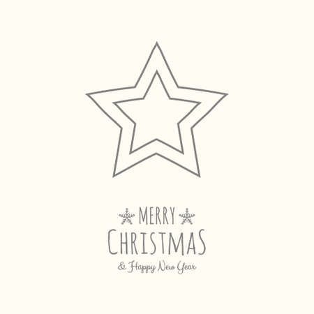 Christmas star with with hand drawn elements. Vector.