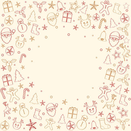Concept of Christmas card template with garland and ornaments. Vector. Vettoriali