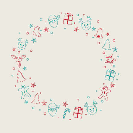 Merry Christmas and Happy New Year - template of card with decorations. Vector.