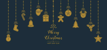 Christmas card in retro style with hand drawn elements. Vector. Vettoriali