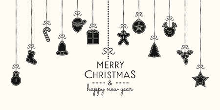 Concept of Christmas card with hanging ornaments. Vector.