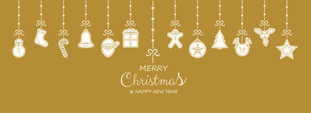 Christmas greetings with hanging decorations. Vector.