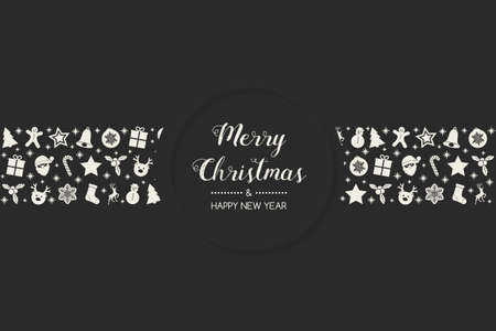 Design of Christmas postcard with wishes and hand drawn ornaments. Vector.