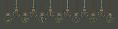 Panoramic Christmas decoration - hanging hand drawn Christmas balls. Vector.