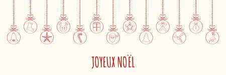 Merry Christmas in French (Joyeux Noel) - concept of card with decoration. Vector. Vettoriali