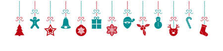 Concept of panoramic header with colourful Christmas decorations. Vector. Vecteurs