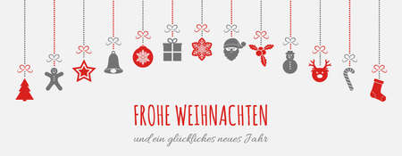 Merry Christmas in German (Frohe Weihnachten) - concept of card with decoration. Vector.
