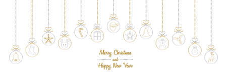 Merry Christmas - wishes with different hand drawn baubles. Vector. Vettoriali