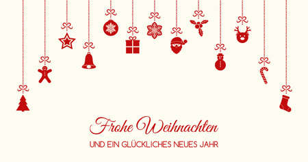 Frohe Weihnachten - Merry Christmas in German. Concept of Christmas card with decoration. Vector.