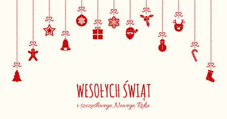 Wesolych Swiat - Merry Christmas in Polish. Concept of Christmas card with decoration. Vector. Vettoriali