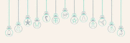 Hanging Christmas baubles with different hand drawn ornaments. Vector.