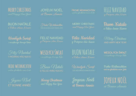 Set of pastel colored greetings in different languages: English, Spanish, German, French, Polish, Italian.