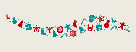 Panoramic Christmas banner with decoration in retro style. Vector.
