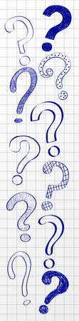 Banner with hand drawn question marks on checked paper. Vector.