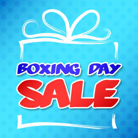 Boxing Day - concept of poster with hand drawn gift box.