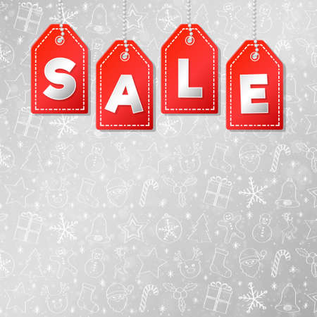 Christmas or Winter Sale - layout of poster. Vector.