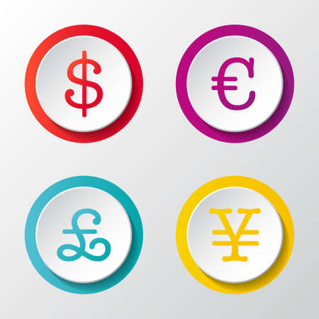 Currency icons - set of 3d button isolated on white background.
