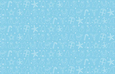 Hand drawn Christmas decorations on blue background.