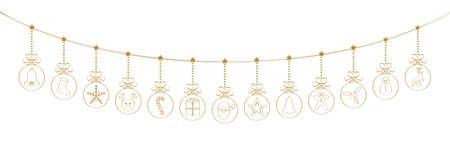 Panoramic Christmas decoration - hanging hand drawn Christmas balls. Vettoriali