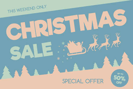 Christmas Sale - pastel coloured banner in retro style. Vector.