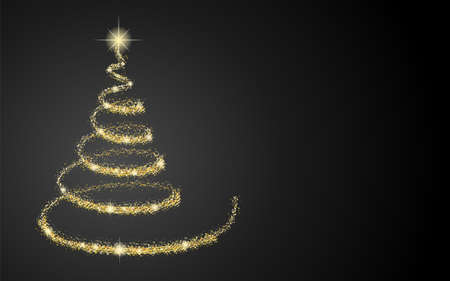 Shiny glittering Christmas tree on black background with copyspace.