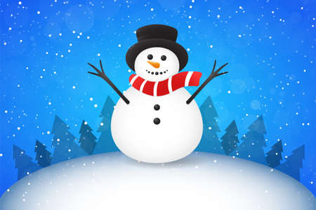 Christmas landscape with trees and cute Snowman. Vectores