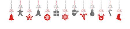 Concept of panoramic header with colourful Christmas decorations. Ilustração