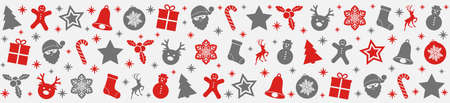 Panoramic Christmas banner with silver and red icons.