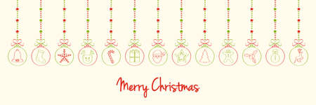 Merry Christmas - wishes with different hand drawn baubles