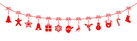 Christmas garland with red hanging icons.