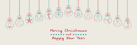Merry Christmas - wishes with different hand drawn baubles.