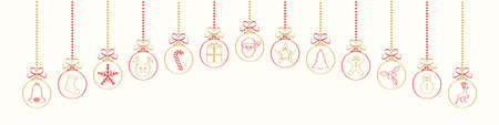 Hanging Christmas baubles with different hand drawn ornaments.