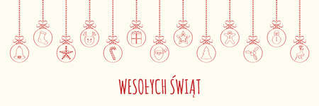 Wesolych Swiat - Merry Christmas in Polish. Concept of Christmas card with decoration.