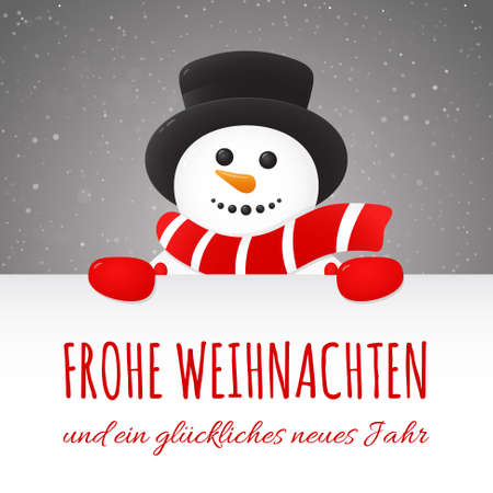 Frohe Weihnachten - Merry Christmas in German. Concept of Christmas card with decoration.