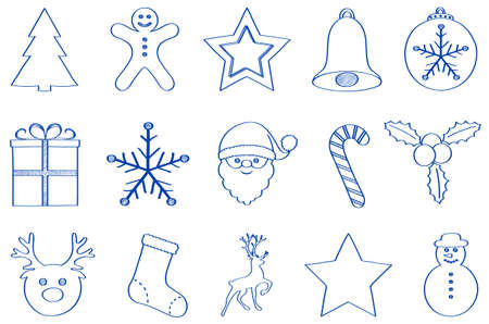 Christmas icons - hand drawn decoration on white background.