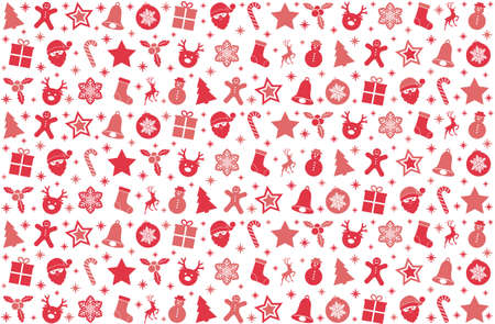 Christmas wallpaper with red pastel colored icons.
