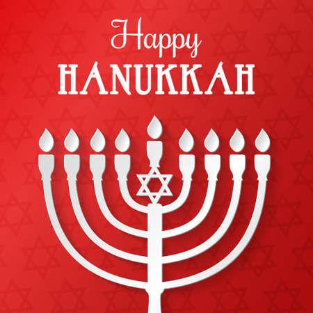 Beautiful card with silver menorah for Hanukkah holiday.