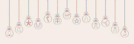 Panoramic Christmas header with hanging balls. Vector.