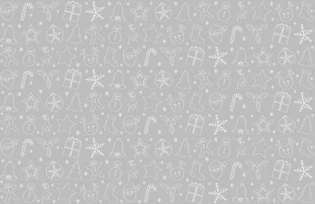 Seamless Christmas background with hand drawn ornaments. Vector.