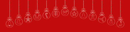 Panoramic Christmas header with hanging balls. Vector.