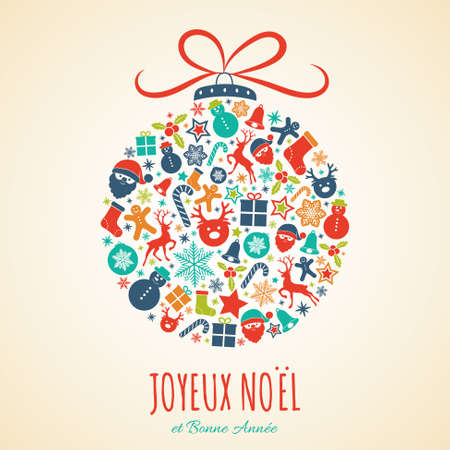 Joyeux Noel - Merry Christmas in French. Christmas card with ornaments. Vector.