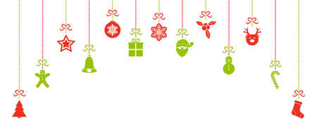 Design of panoramic header with colourful Christmas decorations. Vector. Vettoriali