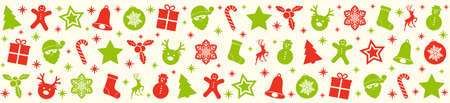 Beautiful Christmas banner with ornaments. Vector.